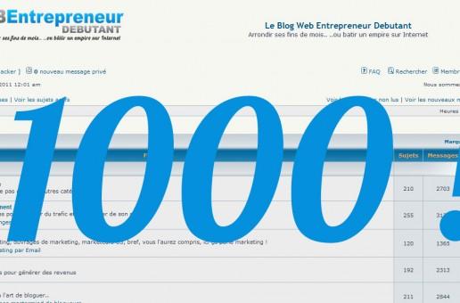 1000€ à gagner  – Aurélien Amacker fête ses 1000 inscrits au forum web entrepreneur débutant